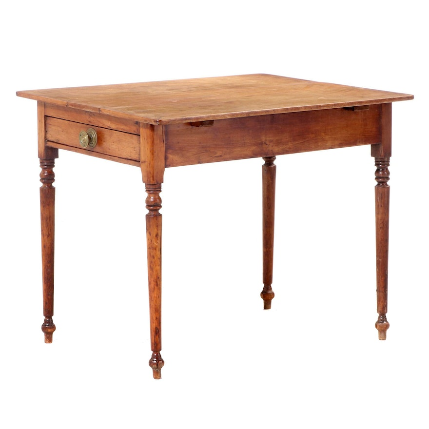 American Primitive Single-Drawer Table, 19th Century