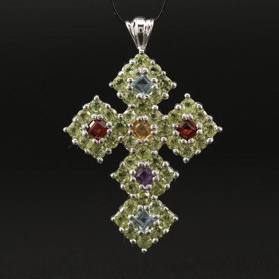 Sterling Silver Topaz, Garnet and Peridot Cross Pendant
