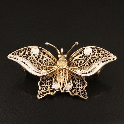 800 Silver Filigree Butterfly Brooch