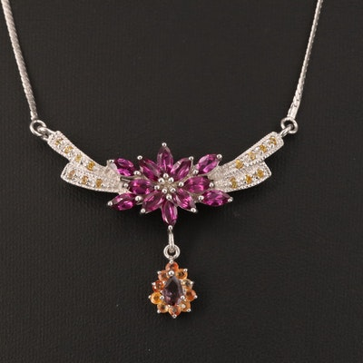 Sterling Silver Garnet and Sapphire Stationary Drop Pendant Necklace