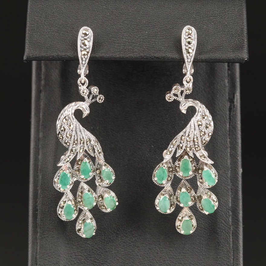 Sterling Silver Peacock Motif Chandelier Earrings with Emerald and Marcasite