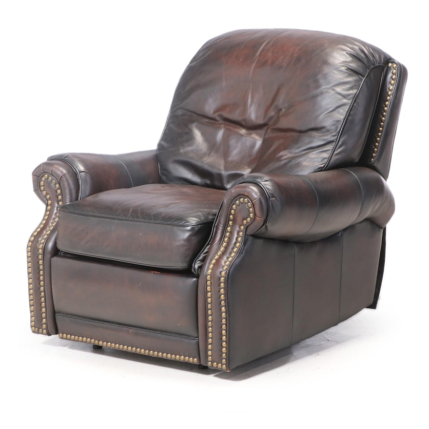 BarcaLounger Brown Leather and Brass-Tacked Reclining Armchair