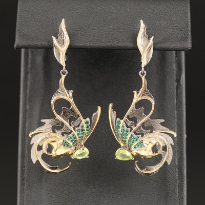Sterling Silver Fantastical Butterfly Earrings with Peridot Accents