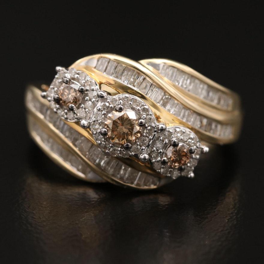 1.03 CTW Diamond Bypass Ring in 10K