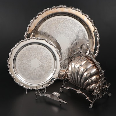 English Bun Warmer and Other Silver Plate Including a Oneida Tray