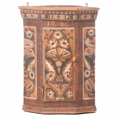 Swedish Folk-Painted Wood Hanging Corner Cabinet, Dated 1806