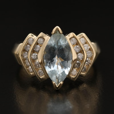 14K Aquamarine and Diamond Ring Featuring Stepped Design