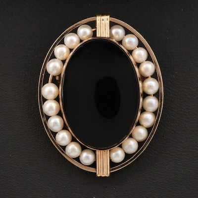 Van Dell Black Onyx and Pearl Converter Brooch
