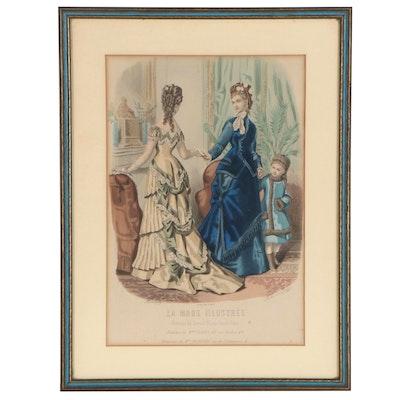 """Adèle-Anaïs Toudouze Hand-Colored Engraving for """"La Mode Illustrée"""""""