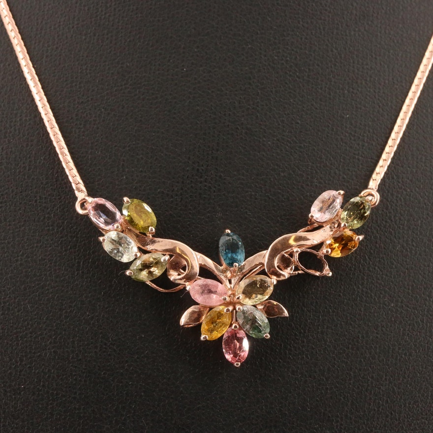 800 Silver Multi-Colored Tourmaline Stationary Pendant with Sterling Necklace