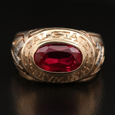 "Le Tendre Designs 14K Ruby and Diamond ""Cal State Hayward"" Ring"