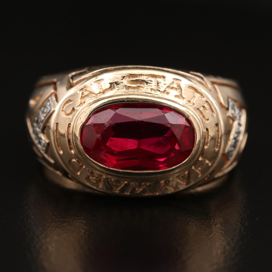 """Le Tendre Designs 14K Ruby and Diamond """"Cal State Hayward"""" Ring"""