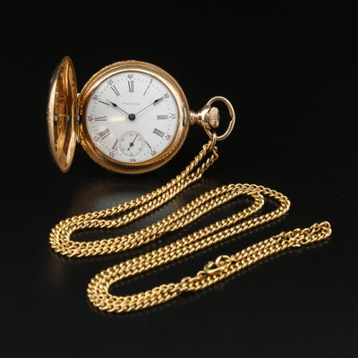 1901 Waltham 0 Size Gold Filled Hunting Case Pocket Watch with Chain Fob