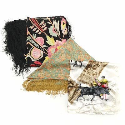 Floral  Fringe and Bull Fighter Themed Scarf and Shawls