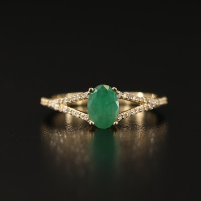 10K Beryl and Diamond Ring with Split Shank