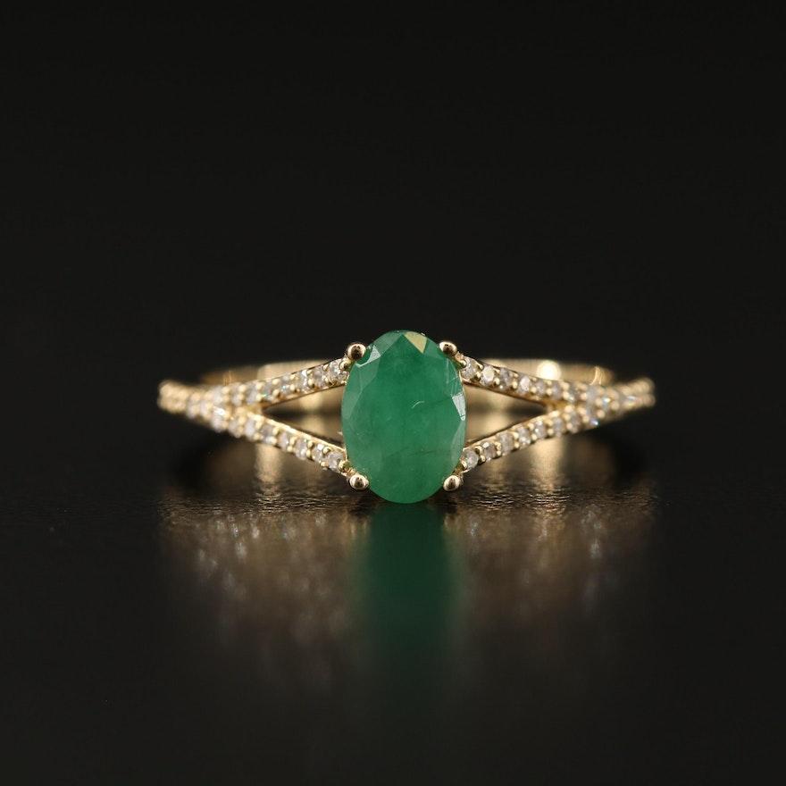 10K Beryl and Diamond Ring with Split Shank