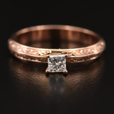10K Rose Gold 0.22 CT Diamond Solitaire Knife Edge Ring
