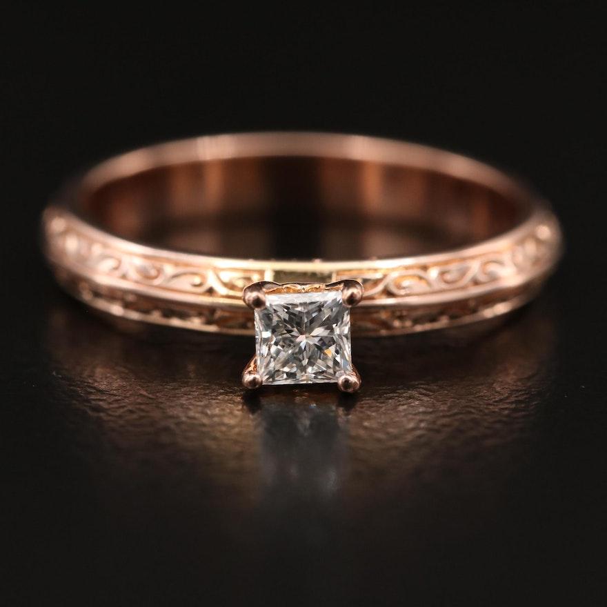 10K Rose Gold 0.22 CT Diamond Solitaire Knife Edge Ring
