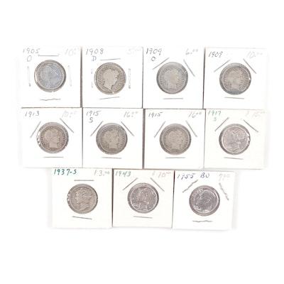 Eleven Silver Dimes, 1905–1955
