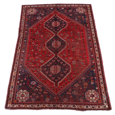 7'4 x 10'7 Hand-Knotted Persian Qashqai Wool Rug
