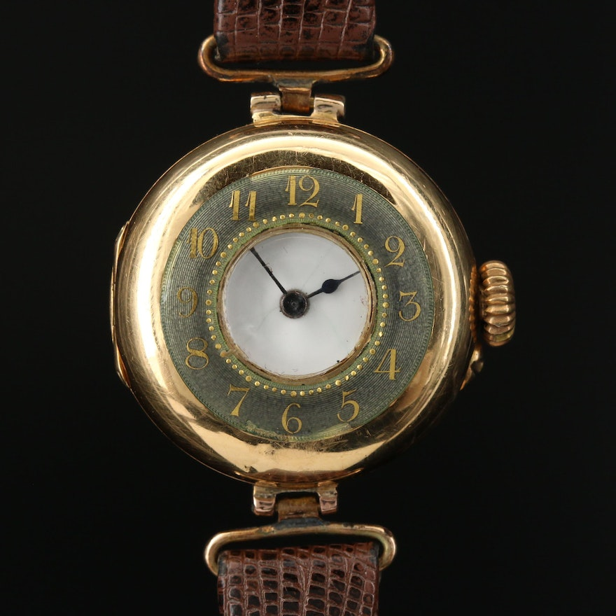 1913 Rolex 18K Gold Demi-Hunter Stem Wind Wristwatch