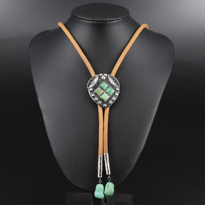 Artist Signed Southwestern Style Sterling Silver and Turquoise Bolo Tie