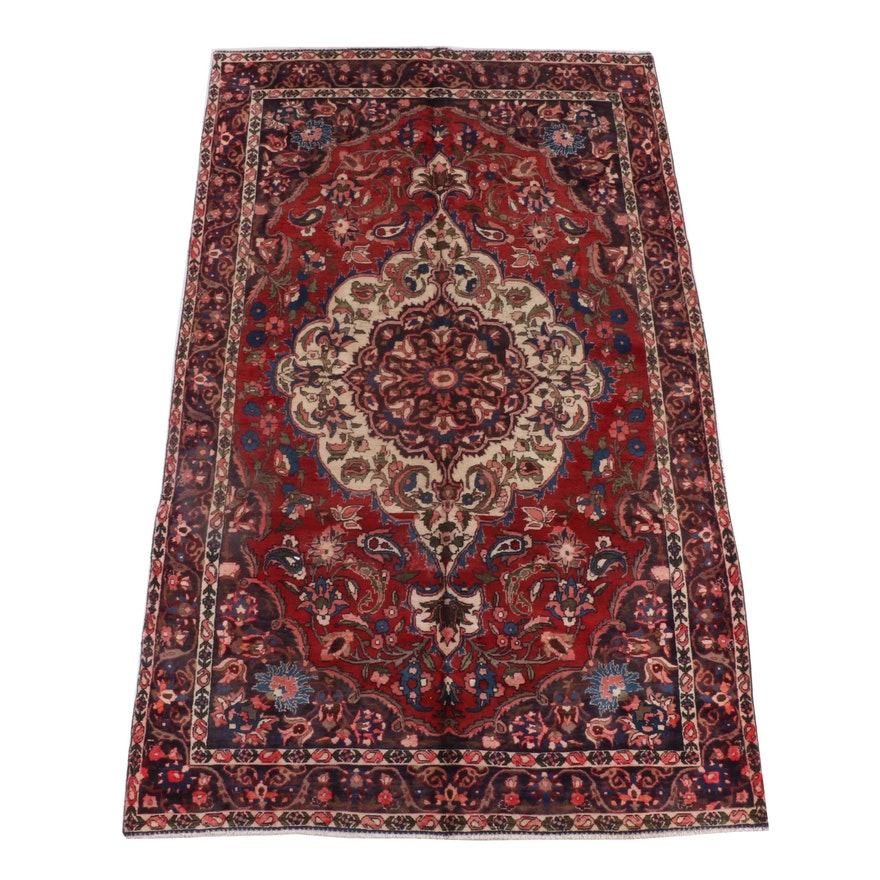 6'7 x 10'9 Hand-Knotted Perisan Mashhad Wool Rug