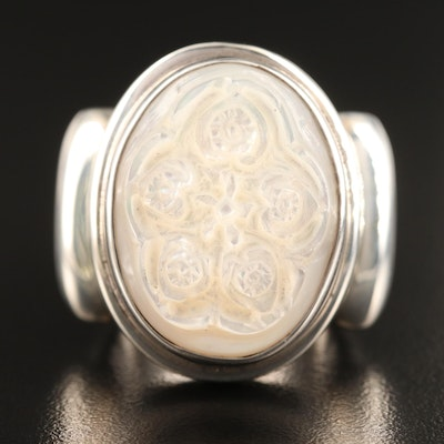 Laurent Léger 950 Silver Carved Mother of Pearl Floral Ring