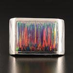 Laurent Léger 950 Silver Opal Rectangular Ring