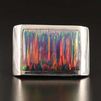 Laurent Léger 950 Silver Opal Rectangular Ring