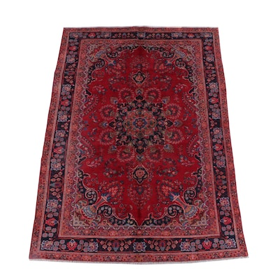 6'5 x 9'2 Hand-Knotted Persian Yazd Wool Rug