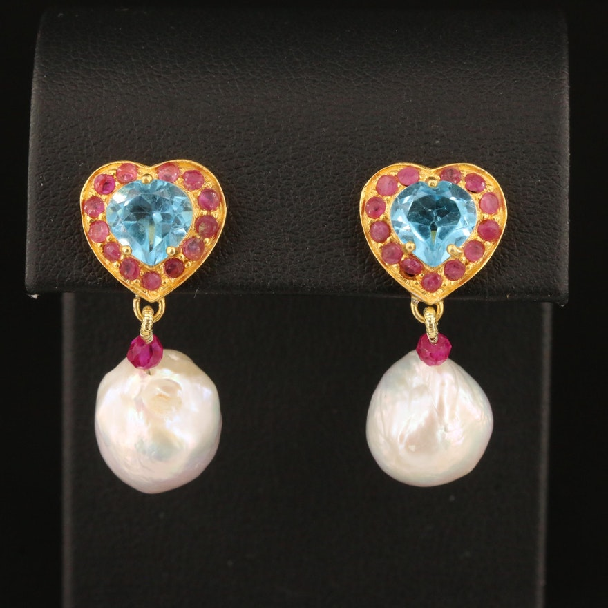 Sterling Silver Pearl, Topaz and Corundum Heart Motif Dangle Earrings