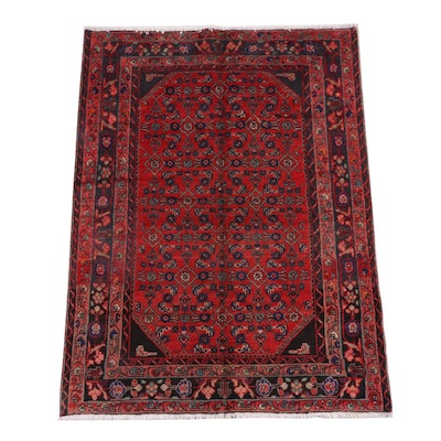 4'8 x 6'6 Hand-Knotted Persian Hamadan Wool Rug