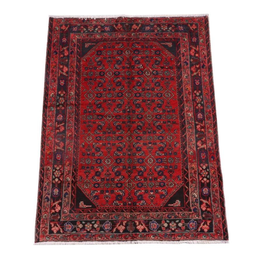 4'8 x 6'6 Hand-Knotted Persian Hamadan Wool Rug