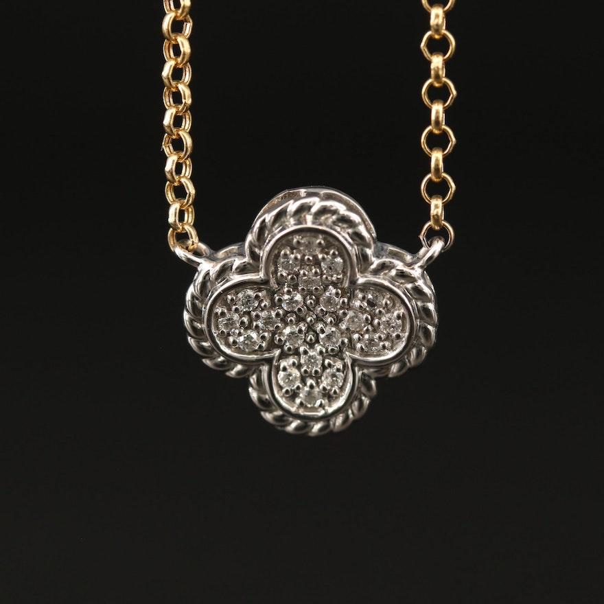14K Pavé Diamond Quatrefoil Necklace