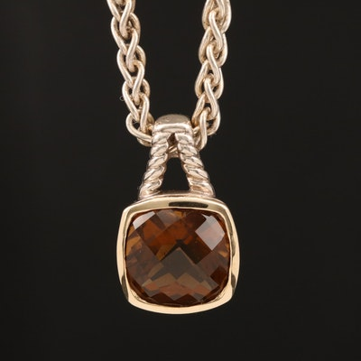 970 Silver Citrine Pendant with 18K Accent and Sterling Silver Wheat Necklace