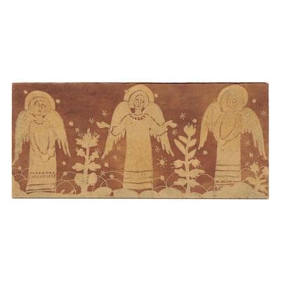 Batik Dyed Folk Art Textile of Angelic Figures, 20th Century