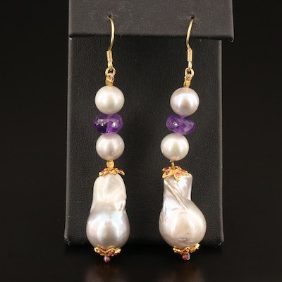 Sterling Silver Pearl, Amethyst and Garnet Dangle Earrings