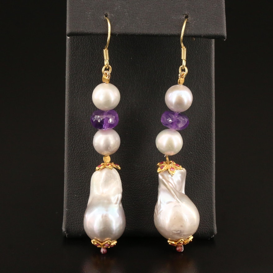 Sterling Silver Pearl, Amethyst and Garnet Dangle Earrings
