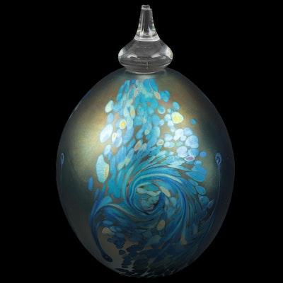 Robert Eickholt Iridescent Art Glass Perfume Bottle, 2008