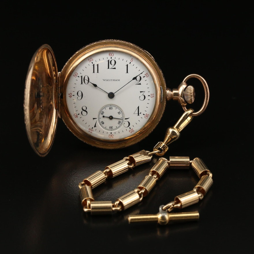 1909 Waltham Hunting Case Gold Filled Pocket Watch