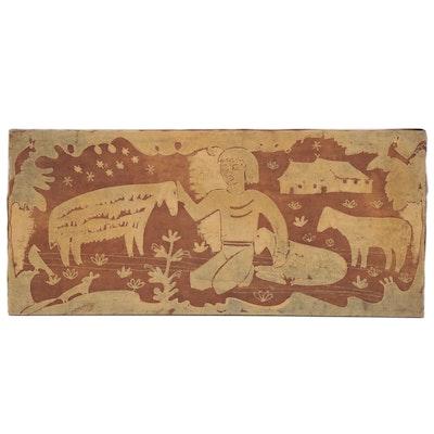Batik Dyed Folk Art Textile of Figure and Sheep, 20th Century