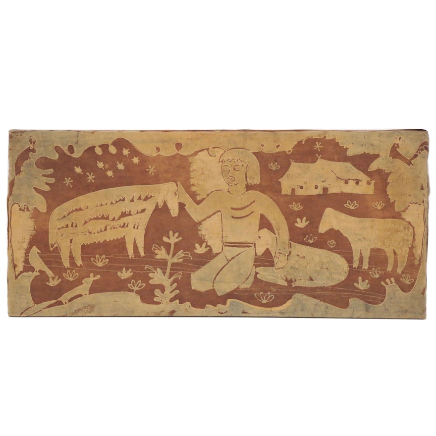 Batik Dyed Folk Art Textile of Figure and Sheep, 20th Century