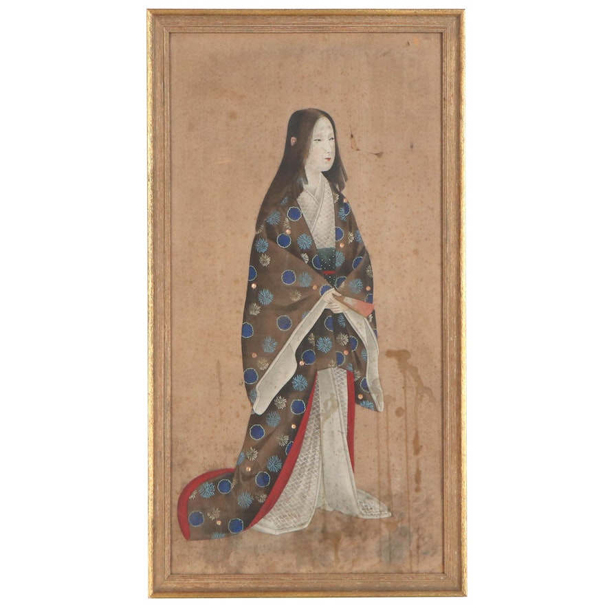 Japanese Gouache Painting of Standing Woman, Late 19th to Early 20th Century