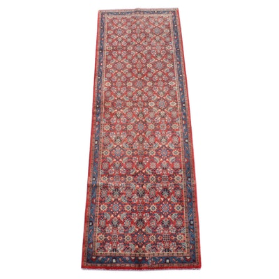 3'8 x 11'0 Hand-Knotted Persian Hamadan Wool Long Rug