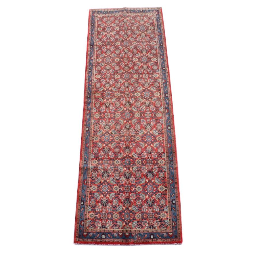 3'8 x 11'0 Hand-Knotted Persian Hamadan Wool Long Rug