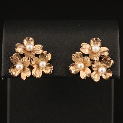 Pearl Flower Earrings with 14K Posts
