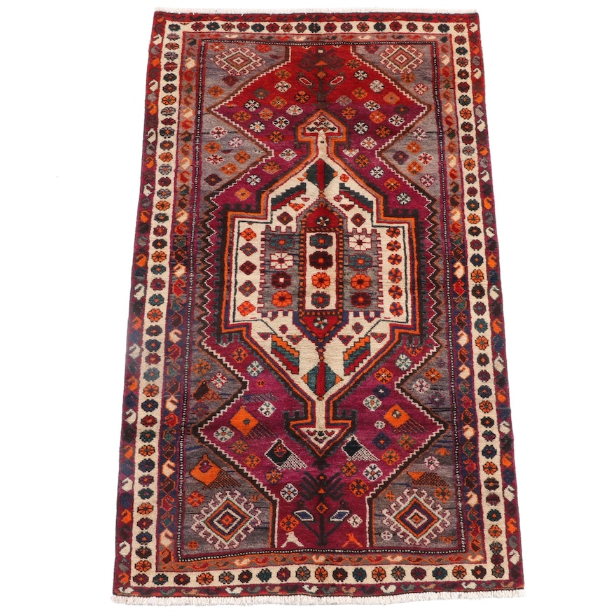 4'4 x 7'6 Hand-Knotted Persian Afshar Wool Rug