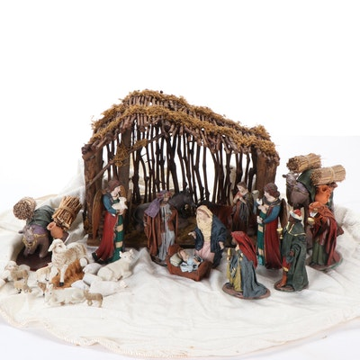 J. Puig and Other Ceramic and Resin Nativity Scene Figurines and Set