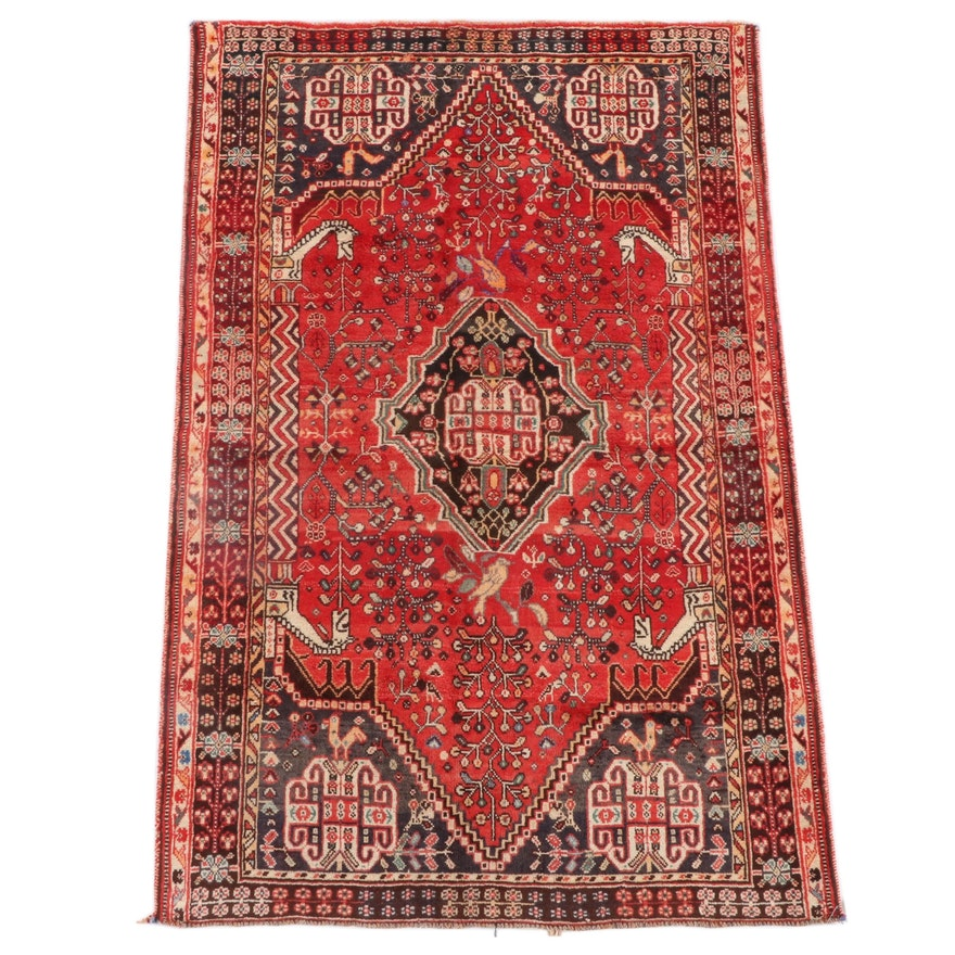 4'2 x 6'6 Hand-Knotted Persian Qashqai Wool Rug